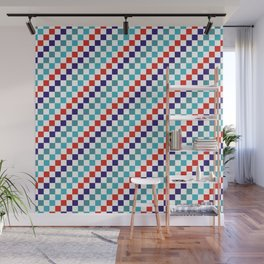 Gridded Red Tale Blue Pattern Wall Mural