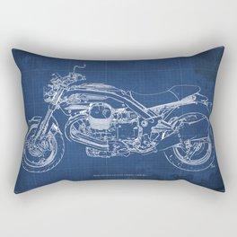 2010 Moto Guzzi Griso1200 8V, motorcycle blueprint, blue poster,milimiter,original poster,giftforhim Rectangular Pillow