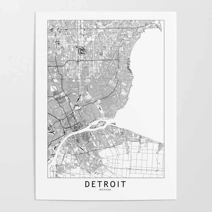 Detroit White Map Poster