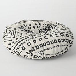 Aztec Monkeys and Ornaments - Black Floor Pillow