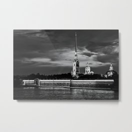 Peter And Paul Fortress at night, downtown, center of St. Petersburg, summer day, dramatic sky, clouds, river embankment, black and white (St. Petersburg, Russia) (2012-7SPBBW2) Metal Print