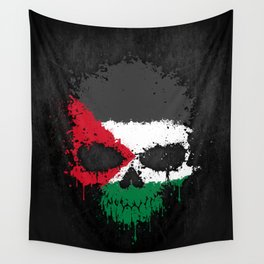 Flag of Palestine on a Chaotic Splatter Skull Wall Tapestry