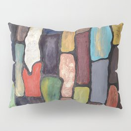 Colorful Abstract art turquoise, red green mix with gold dust Pillow Sham