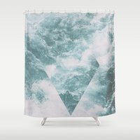 norway Shower Curtains featuring Norway - Nebula - with triangles! by Andrej Stern