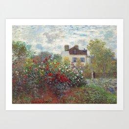 Claude Monet - The Artist's Garden in Argenteuil, A Corner of the Garden with Dahlias Art Print