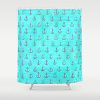 anchors Shower Curtains featuring Anchors Abandoned  by Sunny Horizon