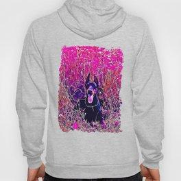 doberman dog red flowers meadow vector art purple Hoody