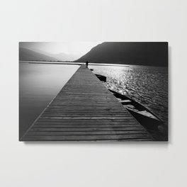Wooden lake pier Metal Print