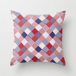 Red White & Blue Patchwork Quilt Throw Pillow