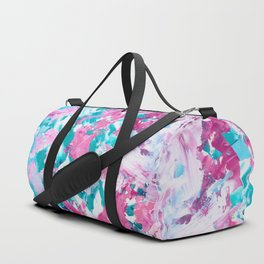 Pink turquoise modern abstract acrylic painting Duffle Bag