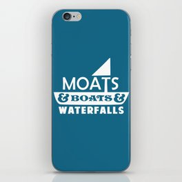 Moats and Boats and Waterfalls Graphic in Blue iPhone Skin