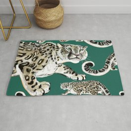 Snow leopard in green Rug