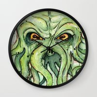 cthulhu Wall Clocks featuring Cthulhu by Olechka
