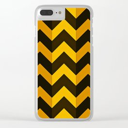 Shades of Gold with Black Chevron Stripes Clear iPhone Case