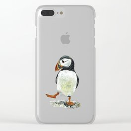 Dancing puffin Clear iPhone Case