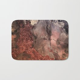 Copper Glitter Stone and Ink Abstract Gem Glamour Marble Bath Mat