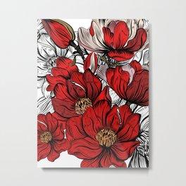 RED PEONIES PATTERN Metal Print