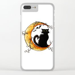 The cat and the moon Clear iPhone Case