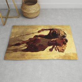 """N C Wyeth Vintage Western Painting """"Indian Lance"""" Rug"""
