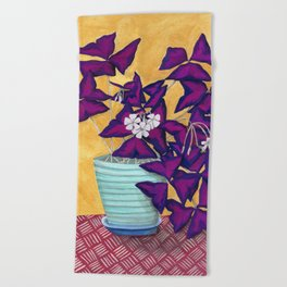 Purple Shamrock Houseplant Painting Beach Towel