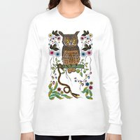 andreas preis Long Sleeve T-shirts featuring Vibrant Jungle Owl and Snake by famenxt