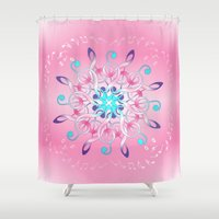 music notes Shower Curtains featuring Music Notes In Pink by HK Chik