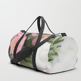 Pink and white roses Duffle Bag