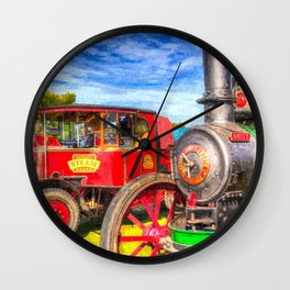 Traction Engine And Steam Lorry Art Wall Clock