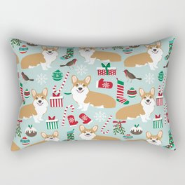 Welsh Corgi christmas holiday fabric festive pattern print by pet friendly dog breeds Rectangular Pillow