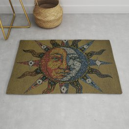 Vintage Celestial Mosaic Sun & Moon Rug