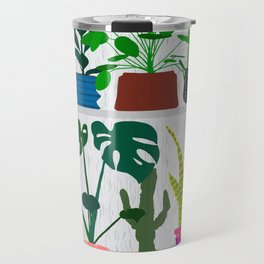 Plants on the Shelf in Gray + White Wood Travel Mug