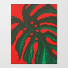 Monstera Palm Leaf Tropical Halftone Canvas Print