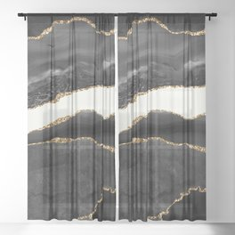 Into the Great Wide Open Black and Gold Agate Sheer Curtain