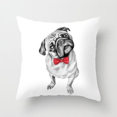 Percy Pug Throw Pillow