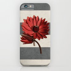 botanical stripes - red water lily iPhone 6s Slim Case