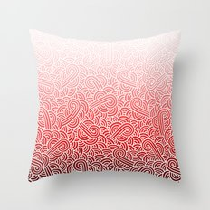 Ombre red and white swirls doodles Throw Pillow