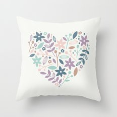 Floral Heart - in Cream Throw Pillow