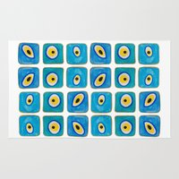evil eye Area & Throw Rugs featuring Evil Eye Squares by Katayoon Photography & Design
