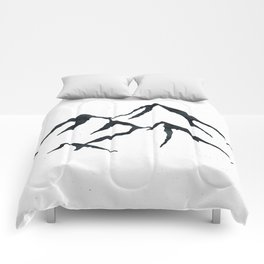 MOUNTAINS Black and White Comforters