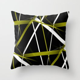 Seamless Olive Green and White Stripes on A Black Background Throw Pillow