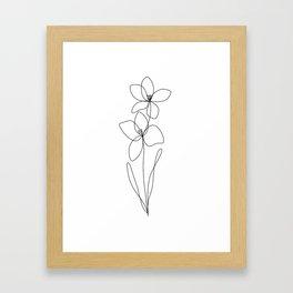 Birthflower, August, Gladiolus Flower, one line, contour, drawing  Framed Art Print