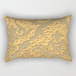 Gold Metallic Damask Print Rectangular Pillow