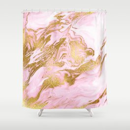 Rose Gold Mermaid Marble Shower Curtain