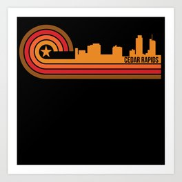 Retro Style Cedar Rapids Iowa Skyline Art Print
