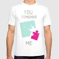 You Complete Me MEDIUM White Mens Fitted Tee