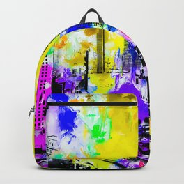 building of the hotel and casino at Las Vegas, USA with blue yellow red green purple painting abstra Backpack
