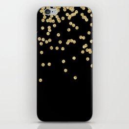 Sparkling gold glitter confetti on black - Luxury design iPhone Skin