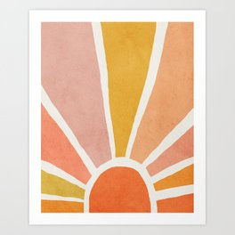 Sun, Mid century modern kids wall art, Nursery room Art Print
