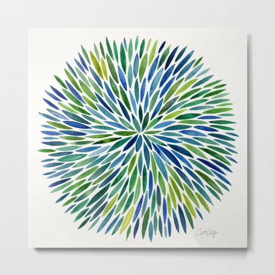 Watercolor Burst – Blue & Green Metal Print