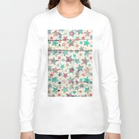 shabby chic Long Sleeve T-shirts featuring Grunge Stars on Shabby Chic White Painted Wood by micklyn